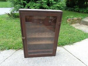 Antique-Vintage-Hand-Made-General-Store-Advertising-Thread-Display-Cabinet-Case