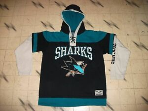 VINTAGE SAN JOSE SHARKS OLD TIME HOCKEY HOCKEY JERSEY HOODIE YOUTH ... 7e3107f47ad
