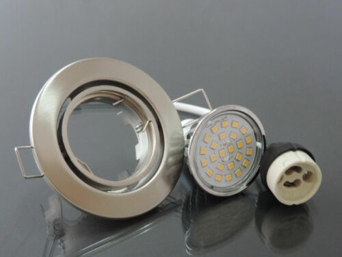 10xEinbaustrahler Spot Rahmen nm warmweiss 24 x SMD LED Dimmbar GU10 230V #7266