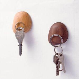 Magnetic-Key-Hook-Magnet-Holder-Walnut-Wood-Hanger-Wall-Mount-Hanging-Decor