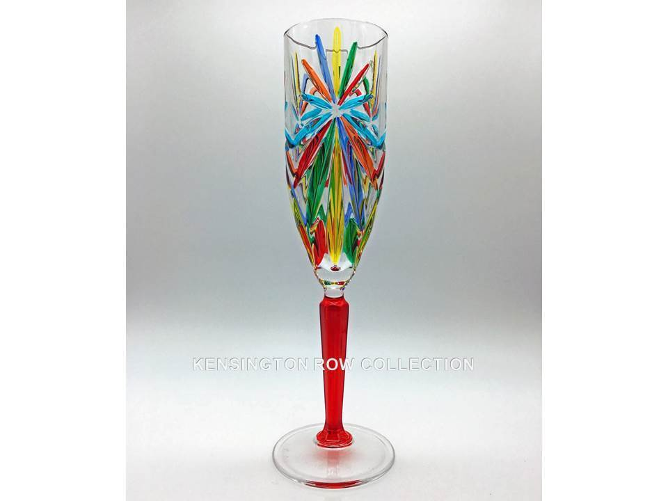 SORRENTO  CHAMPAGNE FLUTE - RED STEM - HAND PAINTED VENETIAN GLASSWARE