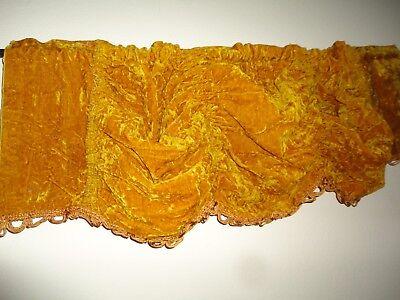 "JCP PENNEY RETRO 70""  DEEP GOLD HONEY CRUSHED VELVET (1) RUCHED VALANCE 56 X 13"