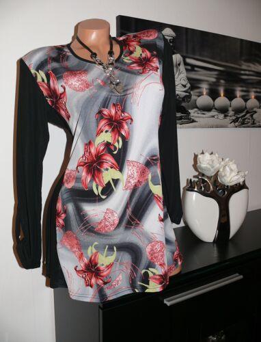 ♥  NEU Empire Tunika Kleid  Longshirt Lilien schwarz 42 44 46 48 gr ♥