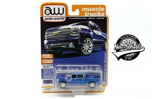 Auto World 1:64 Premium Muscle Trucks 2019 Chevy Silverado High County Blue