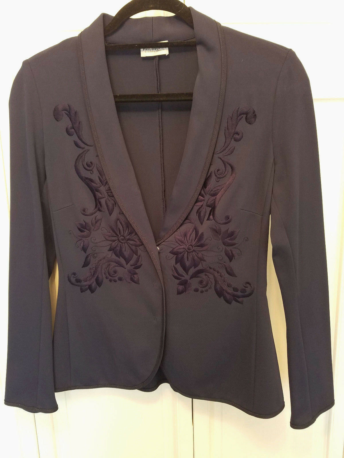Philosophy Di Alberta Ferretti Navy Brocade Blazer Women's 4 US 40 IT NWT