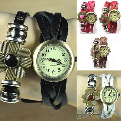 Ladies Weave Wrap Cute Flower Faux Leather Bracelet Quartz Wrist Watch New