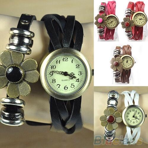 Women Vintage Weave Leather Knitted Bracelet Dial Quartz Analog Wrist watch BBCU
