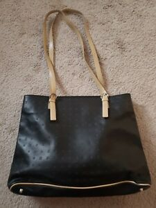 8d323edc2327 ARCADIA Large Signature Black & Tan Leather Tote Shoulder Bag, Made ...