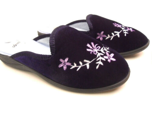 NEW WOMENS LADIES HARD SOLE VELOUR SLIPPERS TINY SMALL HEEL TOUCH SLIP ON GRAN