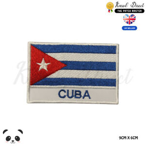 CUBA-National-Flag-With-Name-Embroidered-Iron-On-Sew-On-Patch-Badge