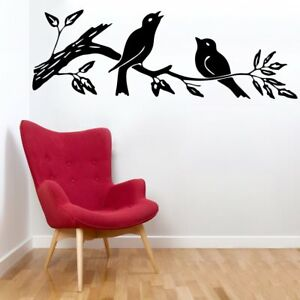b853adf56d7 Image is loading Wall-Sticker-Sparrow-On-Branch-Design-Removable-Home-