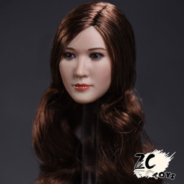 Stock ZC TOYS 1:6 Beauty Female Long Curly Brown Head