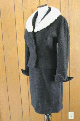Vintage Lilli Ann Paris SF Skirt Suit Black Nubby