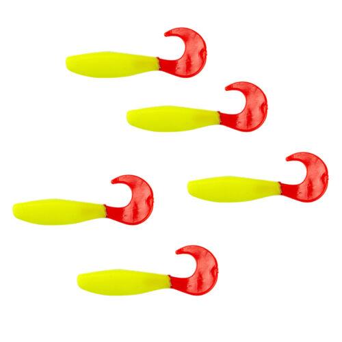 5pcs Grub Worm Soft Plastic Fishing Lure Bait 8cm//3.15 inch Yellow Body