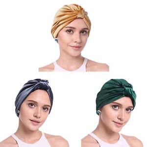 Donne-Velluto-Mussulmano-a-Balze-Cancro-Chemio-Cappello-Beanie-Sciarpa-Turbante
