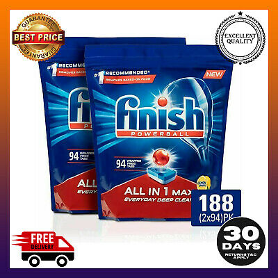 Finish Powerball All In 1 Max Dishwasher Tablets Lemon 188 Pack (2x94)   eBay