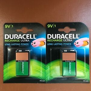 2-x-Duracell-9V-Rechargeable-170-mAh-ULTRA-Batteries-PP3-Block-6LR61-DURALOCK