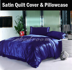 Bedding Navyblue 120gsm Luxury Satin Quilt Cover Pillowcase Set(no Sheets Sb/db/qb/kb High Quality And Inexpensive