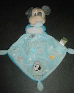 Doudou-Plat-Mickey-Mouchoir-Bleu-Gris-Etoiles-Planete-Fusee-Disney-Nicotoy-TBE