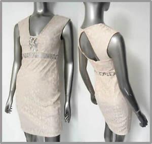 NEW-RIVER-ISLAND-CREAM-BEIGE-LACE-BODYCON-DRESS-Size-8-10-12