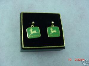 John Deere green pierced post earrings, NIB