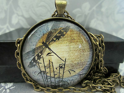 "Black Dragonfly by moon 1.5"" round glass pendant necklace goth jewelry"