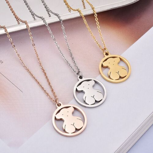 Woman Lady Gold//Silver Bear Circle Pendant Crystal Long Chain Necklace Jewelry