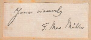 Max Müller - Max Muller - orientalist - Sanskrit studies - original signature