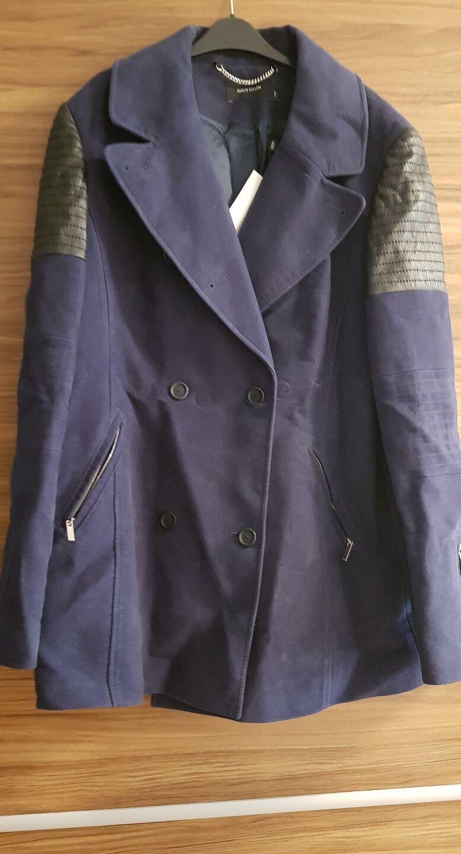 New Designer Karen Millen Coat Size 16 Navy