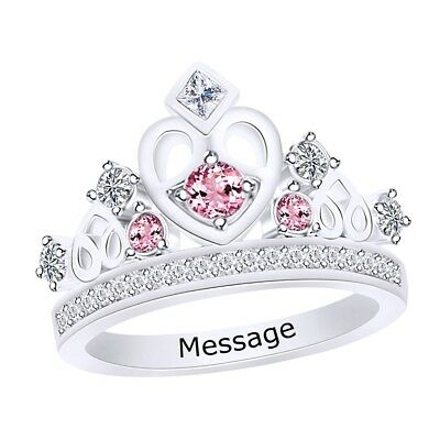 Personalized Engravable Multi-Gemstone Crown Band Ring  Silver
