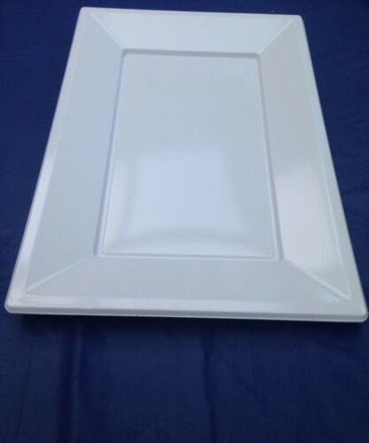6 x white plastic  tray  platter serving shering 33 x 23cm