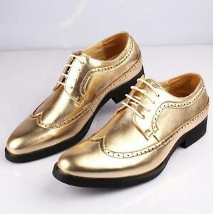 Vintage-Homme-Oxford-Richelieu-a-bout-d-039-aile-Lacets-Robe-Decontractee-Chaussures-Mariage-Cuir