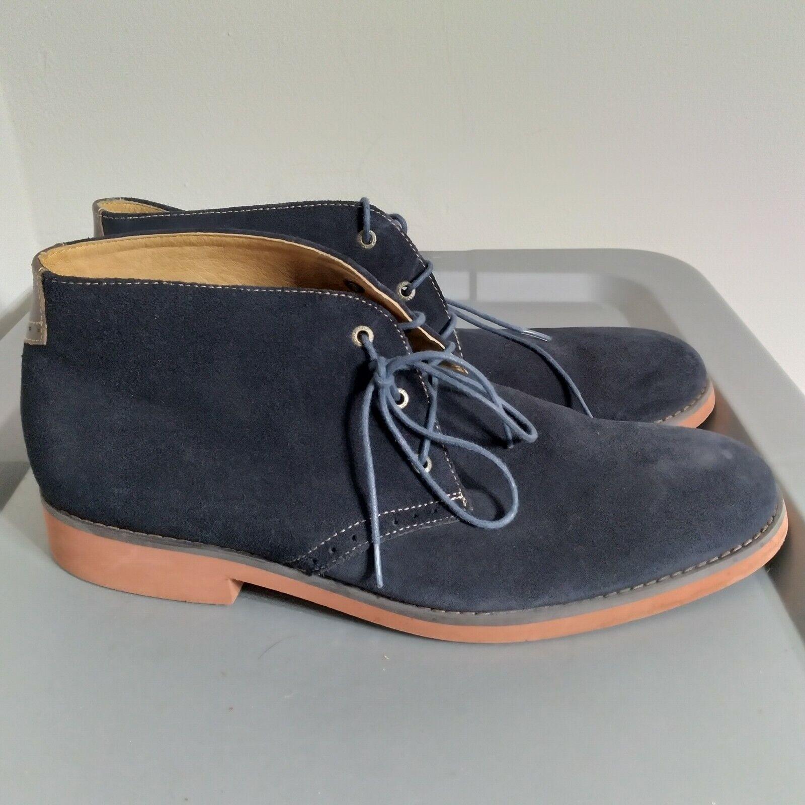 Johnston & Murphy Men's Size 11M Dress Shoes Blue Suede Lace Up Chukka Oxfords