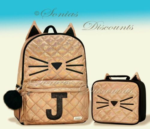 """Justice Initial /""""J/"""" Gold CAT Quilted Backpack+Lunch Tote Set-NWT-Simply Elegant!"""