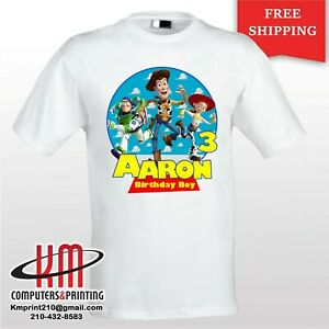 0a0dad58f4640 Details about Toy Story Woody Jesse Buzz Lightyear Custom T-shirt  PERSONALIZED Birthday Shirt