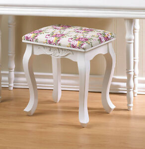Pink Flower Rose White Wood Bench Wide Padded Cushion