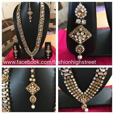 Indian Pakistani Bridal Long Gold & Kundan stone Necklace & earrings, Tikka