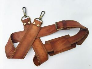 VINTAGE COUTURE Leather Adjustable Padded Replacement Shoulder Strap with Met...