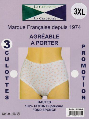 LOT 3 CULOTTES FEMME MARQUE FRANCAISE LA CREUSOISE 100 /% COTON INTERLOCK
