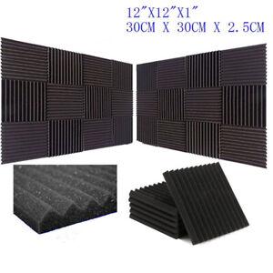24Pcs-Acoustic-Music-Wall-Panels-Sound-Proofing-Foam-Pad-Studio-Decor-12x12-New