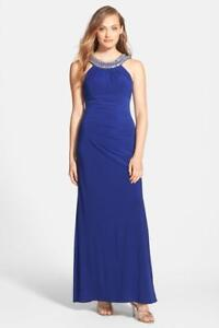 97f5bf5b Image is loading Xscape-Embellished-Jersey-Gown-Size-0-F-77