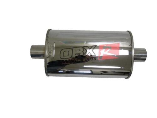 """OBX Univeral Muffler KV1013 2.5/"""" Center IN//Out Resonator Type With Seam w//Neck"""