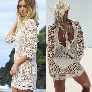 Women's Clothing Erupean Style Sexy Women Lace Crochet Hollow Summer Blouse Tunic Out Bikini Swimwear Cover Up Beach Cover Bathing Suit Buy One Get One Free