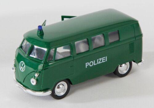 BLITZ VERSAND VW Bus T1 1963 Polizei grün Welly Modell Auto 1:34-1:39 NEU /& OVP