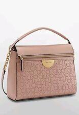 New calvin klein womens olivia monogram satchel shoulder bag purse handbag