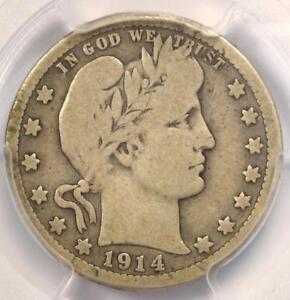 1914-S Barber Quarter 25C Coin - Certified PCGS Fine Details - Rare Date!