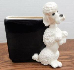 """Vintage ROYAL COPLEY Black Planter With Erect White Begging Poodle 7"""" Tall"""