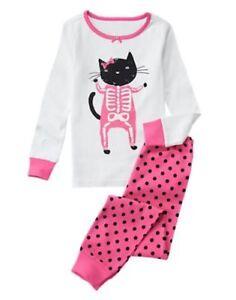 image is loading nwt gymboree gymmies girls skeleton kitty halloween pajamas