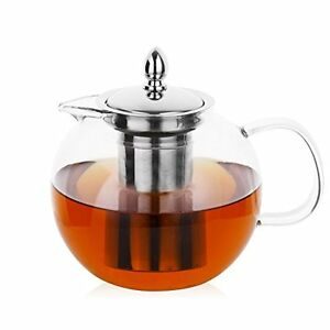 glass teapots teapot removable infuser 45oz blooming. Black Bedroom Furniture Sets. Home Design Ideas