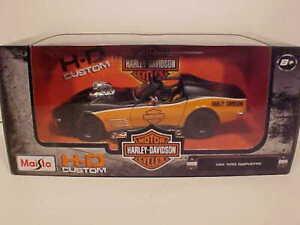 1970-Chevy-Corvette-Diecast-Car-1-24-Maisto-8-inch-Black-Orange-Harley-Davidson